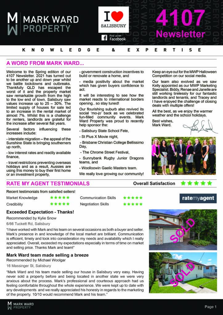 Quarterly Newsletter for Salisbury